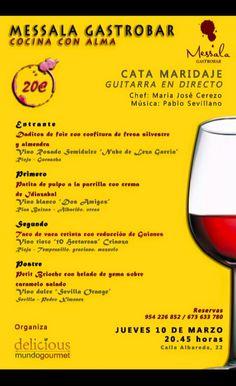 Carta Maridaje 10.03.2016 en Messala Gastrobar. Sevilla