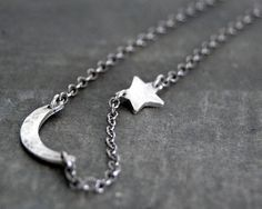 Tiny Rustic Crescent Moon and Star Necklace