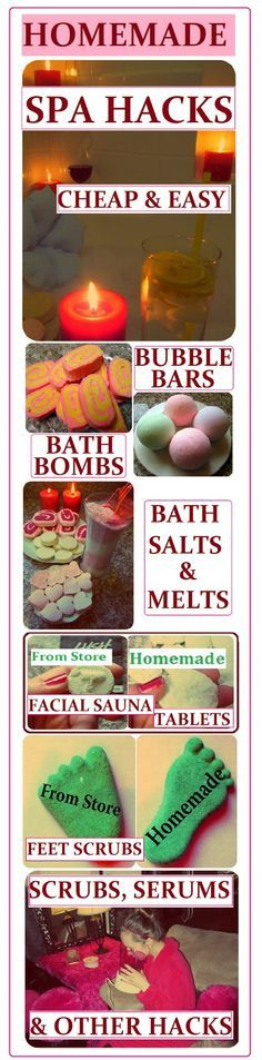 DIY Spa Product Recipes: Bubble Bars, Bath Bombs, Salts, Melts, Scrubs, Serums & Lotions. How to Make them CHEAP, EASY & QUICK on www.MariaSself.com Homemade Gift Ideas for Saint Valentine's Day, Birthday, Mother's Day or Christmas