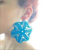 Lace Crochet turquoise windmill earrings by VALLISTIC on Etsy, €25.00