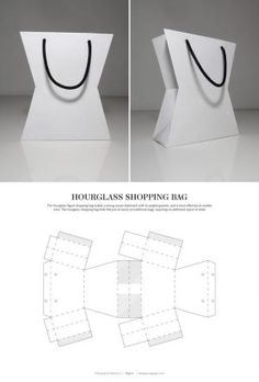Hourglass Shopping Bag – FREE resource for structural packaging design dielines by lynne