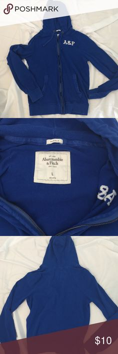 Men's royal blue fullzip sweatshirt great cond. Abercrombie & Fitch men's royal blue Large full zip hoodie sweatshirt Abercrombie & Fitch Sweaters Zip Up