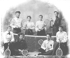 Carrie Ingalls (2nd from left standing behind the net) and other members of her tennis team in De Smet, SD