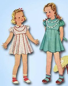 1930s Stunning Tiny Toddler's Dress Pattern Sweet Lines Original McCall Design 1
