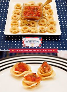 """Rolled """"Rose"""" Tortilla Chips {Kentucky Derby® Inspired} // Hostess with the Mostess® Appetizers For Party, Appetizer Recipes, Kentucky Derby Food, Derby Recipe, Chips And Salsa, Derby Party, Cold Meals, Just Cooking, Tortilla Chips"""
