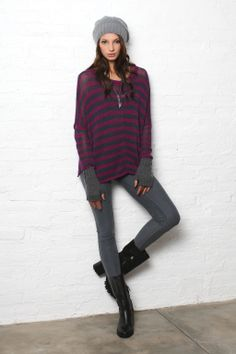 Wooden Ships F14 Cotton One Striped crew neck - in this striped burgundy style! 8/10