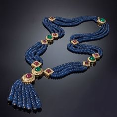 Necklace set with emeralds, rubies, sapphires and diamonds ANISHA