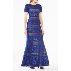 BCBGMAXAZRIA Ivetta Lace-Paneled Gown ($498) ❤ liked on Polyvore featuring dresses, gowns, blue, floral print dress, stripe dresses, floral ball gown, floral evening dresses and blue dress
