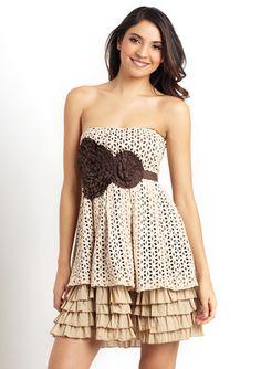 RYU Strapless Crochet Overlay Dress - so feminine and fun.