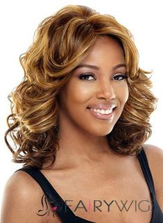 Pretty Medium Wavy Blonde No Bang  Lace Wigs for Women 14 Inch