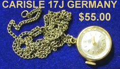 NECKLACE wATCH CARISLE GERMANY 17J by PetiesPorch on Etsy