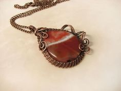 Copper pendant with agate- Big agate- Copper and gemstone- Boho jewelry-Natural stone- Gift for her- 7th anniversary wedding-Mascot-Gift mom