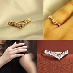 New Fashion Heart Style Alloy Pleated 18K Gold Crystal Women's Ring