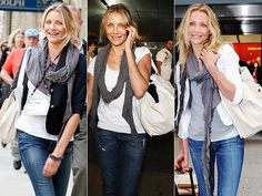 I like her laid back casual chic style. She is a master of jeans, T's and scarf! ..*Cappuccino and Fashion*: Celebrity style: Cameron Diaz
