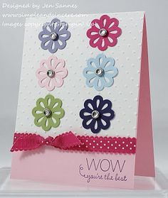 Nice use of Blossom Bouquet Triple Layer punch, with Melon M. ribbon - thanks Jen