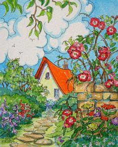 Set of 5 Storybook Cottage vintage inspired Note Cards from Original Watercolors Cute Cottage, Cottage Art, Woodlands Cottage, Illustrations, Illustration Art, Art Fantaisiste, Art Carte, Storybook Cottage, Arte Popular