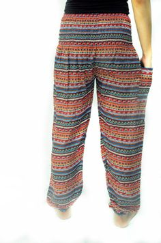 Mix stripe colorful reggae pattern harem Bohemian Yoga pant light weight trouser holiday pant oriental Asian style Free size Comfy - Elephantpant