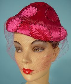 """c. 1950's SCHIAPARELLI, Paris """"Shocking Pink"""" Hat!  If Elsa Schiaparelli is known for anything... it was her signature hue of shocking pink. So I love to find the ultimate Schiaparelli hat in that signature color!  Great for hat or Schiaparelli collectors to go with the Iconic.  This hat is miroir velvet (""""mirror"""" velvet - so shiny!) calotte (skull cap shape)."""