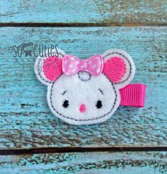 Little Mouse Felt embroidery hair clip / felt hair by soCuties, $3.60
