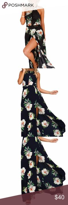 Black Floral Cutout Back Halter Split Maxi Dress This Floral Cutout Back Halter Split Maxi Boho Dress has a trendy high neckline contrasted with a low, cut away back.  With it's cross back straps and a tie up feature, the neck is fastened with a single button. There is also an elasticated back panel  and a cross over hemline.   61460-2 Dresses Maxi