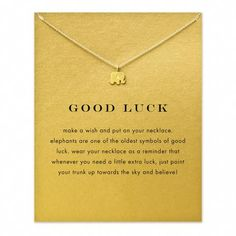 Gold Plated Sparkling Good Lucky Elephant Pendant Necklace - onefav.store