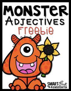 Monster Adjective FREEIBE! #freebie #grammar #adjectives #monsters #halloween #fall Adjectives Activities, Grammar Activities, Writing Activities, Monster Activities, First Grade Writing, Teaching First Grade, Teaching Writing, Writing Prompts, Teaching Ideas