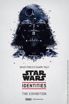 Los carteles elaborados para la exposición Star Wars Indentities son ilusiones ópticas en las que cada rostro está en realidad formado por una escena relacionada con el personaje.