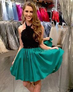 Lace Homecoming Dress,Halter Homecoming Dress,Short Homecoming Dress,A-Line Homecoming Dress