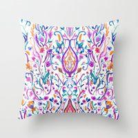 Throw Pillow featuring Folk Paradise by Nikkistrange