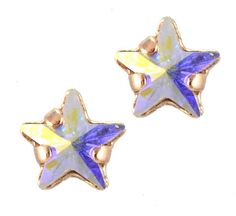 Mariana Rose Gold Plated Petite Star Swarovski Crystal Post Earrings in Crystal Aurore Boreale
