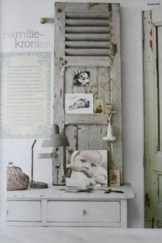 Shabby shutter is so pretty! Diy Shutters, Bedroom Shutters, Louvre Doors, Old Doors, Farmhouse Chic, Vintage Shabby Chic, White Decor, Decoration, Country Decor