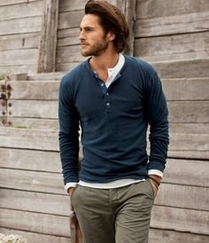 For the weekend: COOL CASUAL  Jack Spade - Cotton Henley  French Connection - Milk Long Sleeve Henley  Asos - Slim Chino http://pict.com/p/BJ4