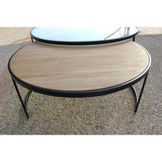 table basse ronde double prado industriel d 110 x h 42 1 plateau