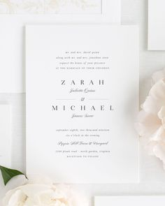 Wedding Designs Small Non-Script Names Wedding Invitations - A stylish serif font with script accents creates the couple's names on these classic wedding invitations. Shown in black with a champagne belly band and garden rose envelope liner. Calligraphy Wedding Stationery, Shine Wedding Invitations, Wedding Invitation Wording, Invite, Wedding Programs, Wedding Cards, Wedding Venues, 2017 Wedding, Destination Wedding