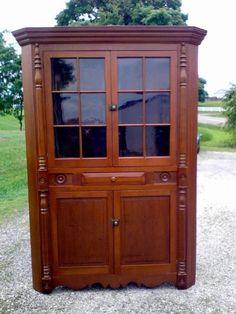 Antique Cherry Corner Cabinet Cupboard Birds Eye Maple Blocks Circa 1860 #Americana #Unknown
