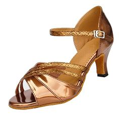 TDA Womens Mid Heel Peep Toe Bronze PU Leather Salsa Tango Ballroom Latin Modern Dance Shoes 10 M US *** You can find more details by visiting the image link.
