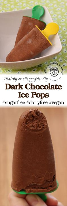 Diet-friendly dark chocolate ice pops: #sugarfree #glutenfree #dairyfree #vegan #lowcarb #healthy #recipe