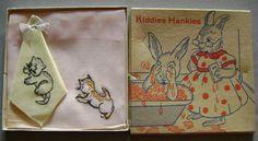 Vintage Kitten Cat Kiddies Hankies in Box Unused by juliantiques