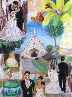 Wedding Collage Custom Made Hand Drawn 18x24 by AmberRodyArt, $450.00