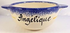 Vintage Pornic French Faience MBFA Handpainted Breakfast Bowl for ''Angélique''