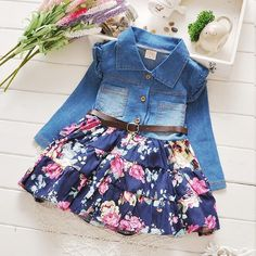 New spring 2016 baby Girls cowboy dress children Children denim dresses babi Girls dsmall calicoress kids girls clothes Kids Outfits Girls, Baby Outfits, Little Girl Dresses, Toddler Outfits, Girls Dresses, Cute Outfits, Little Girl Fashion, Kids Fashion, Baby Jeans