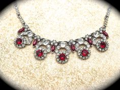 Red Rhinestone Vintage Necklace-Unsigned by JNPVintageJewelry