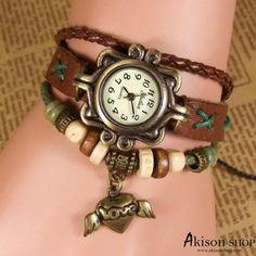 70%OFF Only USD4.8 Handmade Women Vintage Leather Bracelet Quartz Wrist Watch Heart Pendant Watches S050 by https://www.akisonshop.com/watch/watches-women/vintage-leather-bracelet-quartz-wrist-watch-S050.html