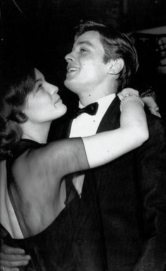 Romy Schneider & Alain Delon at a New Year's Eve party in Paris. the way that she looked at him was just magical