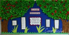 Orman haftası panosu Pre School, Back To School, Classroom Bulletin Boards, Martini, Green Day, Kindergarten, Teacher, Artwork, Diy