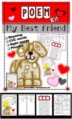 Poetry Kit:  My Best Friend - perfect practice for phonics, sight word, decoding, and word families.  Also great for RTI, interventions and guided reading warm ups. #poetry #phonics #