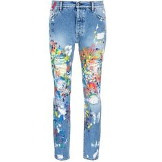 Palm Angels Splatter paint distressed jeans (25.070 UYU) ❤ liked on Polyvore featuring men's fashion, men's clothing, men's jeans, pants, jeans, bottoms, blue, mens ripped jeans, mens destroyed jeans and mens distressed jeans
