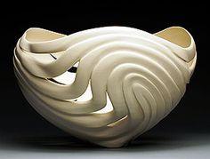 Jen McCurdy wheel-thrown porcelain: Contour Vessel