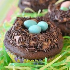 Carlee's Celebrate Spring Cupcakes Allrecipes.com I managed to find chocolate Easter cupcakes!