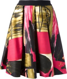 Stawberry and green cotton skirt from Eggs featuring a concealed zip fastening, a pleated design, a straight hem and an all over abstract print.